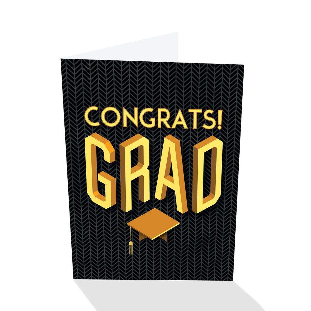 Congrats! Grad - Graduation Card (Black)