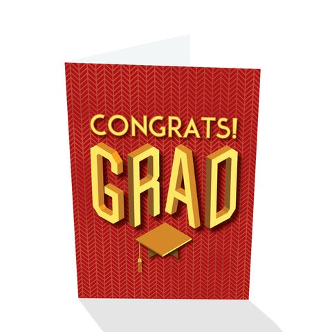 Congrats! Grad - Graduation Card (Red)