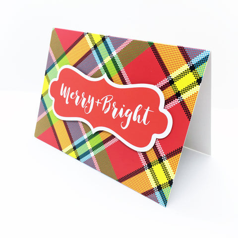 """Merry & Bright"" Madras Greeting Card"