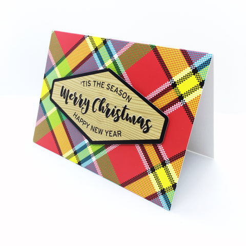 """Merry Christmas"" Madras Plaid Greeting Card"