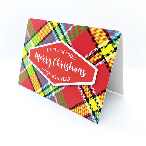 """Merry Christmas"" (Red) Madras Greeting Card"
