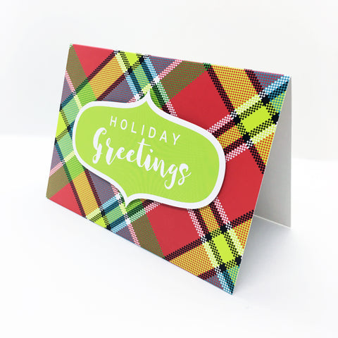 """Holiday Greetings"" (Green) Madras Greeting Card"