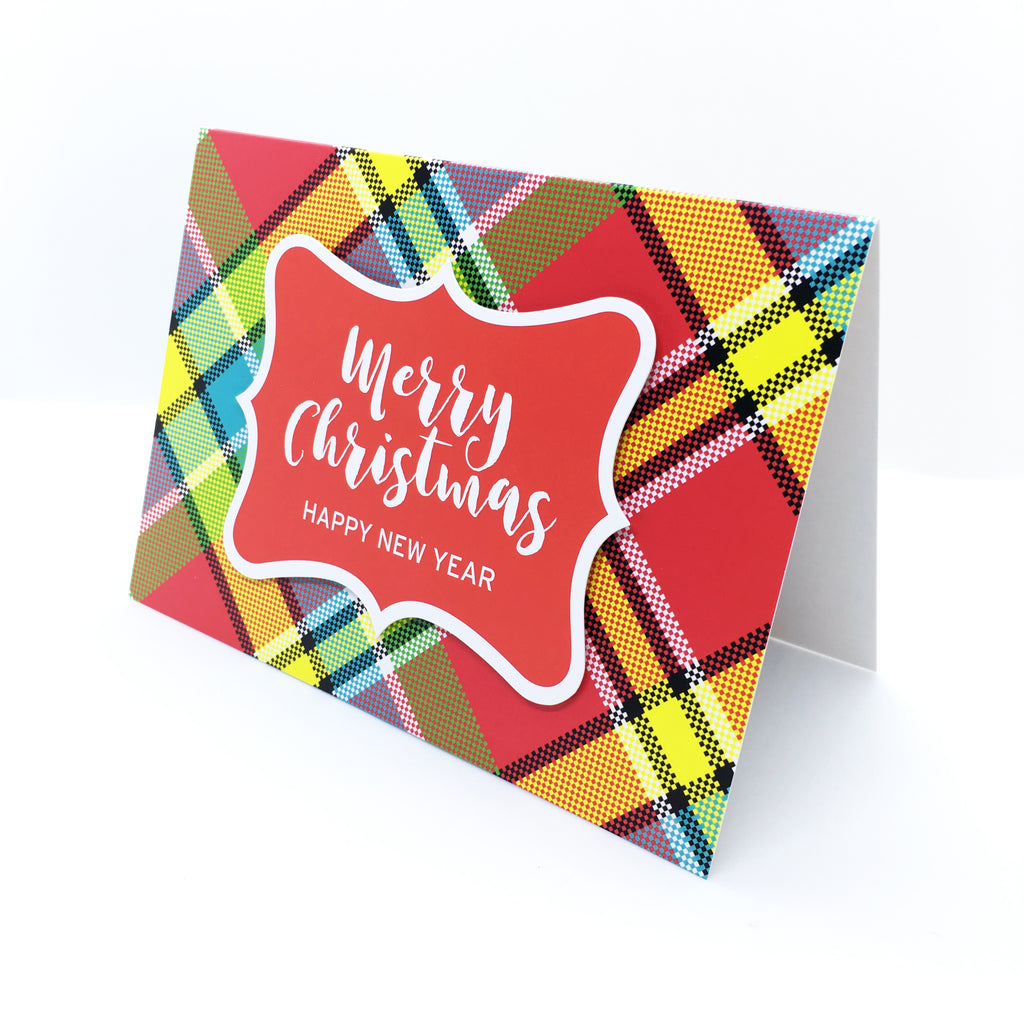 """Merry Christmas, Happy New Year"" Madras Greeting Card"