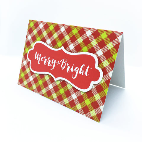 """Merry & Bright"" Merry Gingham Plaid Greeting Card"
