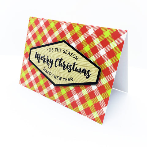 """Merry Christmas"" Merry Gingham Greeting Card"