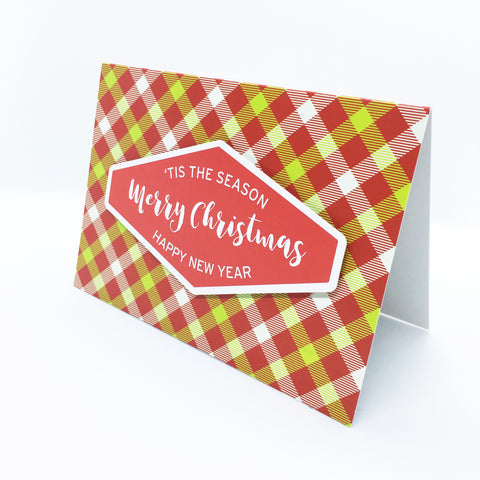 """Merry Christmas"" (Red) Merry Gingham Plaid Greeting Card"
