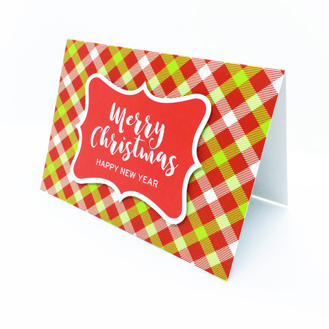 """Merry Christmas,Happy New Year"" (Red) Merry Gingham Plaid Greeting Card"