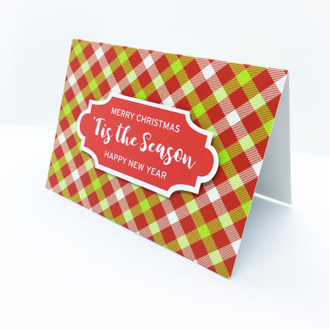 """'Tis The Season"" Merry Gingham Plaid Greeting Card"