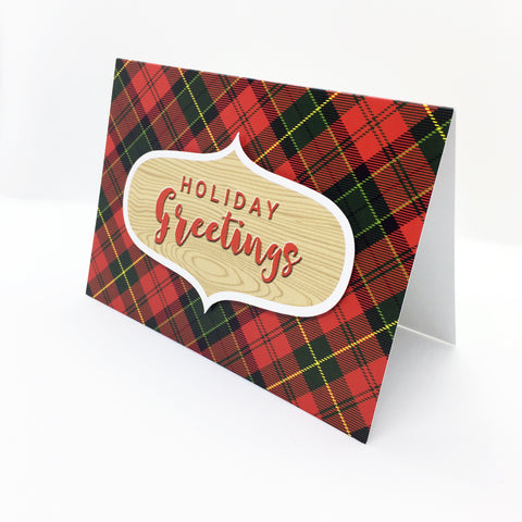 """Holiday Greetings"" Merry Tartan Greeting Card"