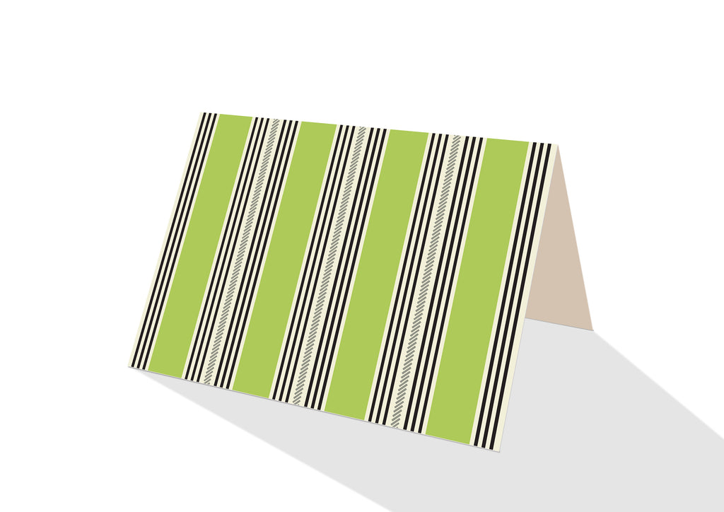 Pinstripe Brights Green Notecards