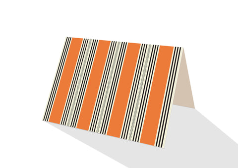 Pinstripe Brights Orange Notecards