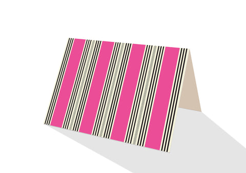 Pinstripe Brights Pink Notecards