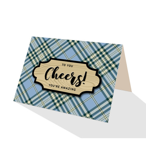 Blue Scotch Plaid Greeting Cards - 5 Options