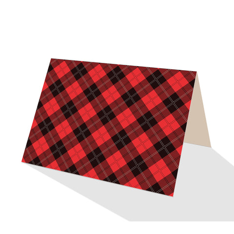 Red Tartan Check Plaid Notecards (Set of 8)