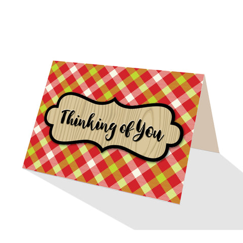 Merry Gingham Plaid Greeting Cards - 5 Options