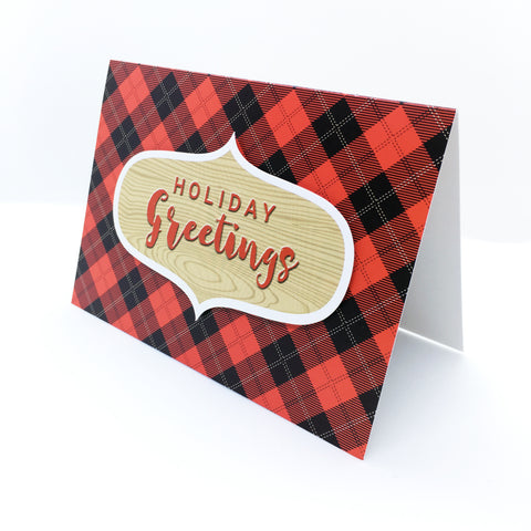 """Holiday Greetings"" Red Tartan Check Plaid Greeting Card"