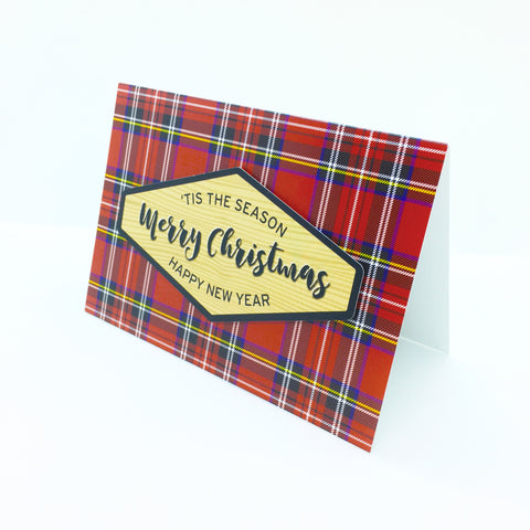 """Merry Christmas"" Royal Stewart Plaid Greeting Card"