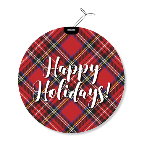 Tartan Plaid Round Holiday Greeting Cards