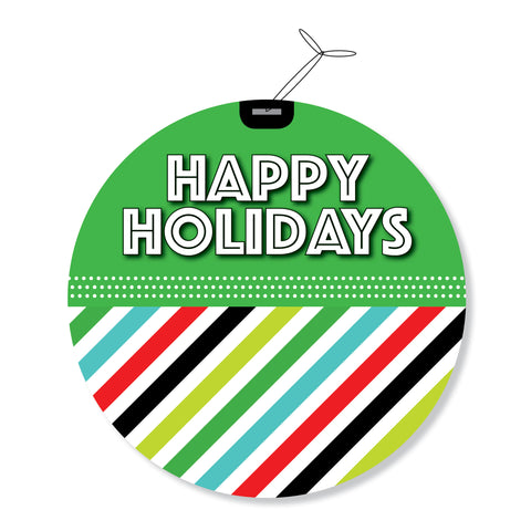 """Happy Holidays"" GeoChristmas Round Holiday Greeting Cards"