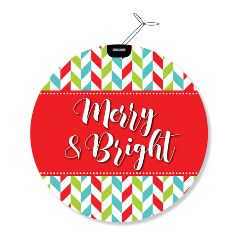 """Merry & Bright"" GeoChristmas Round Holiday Greeting Cards"