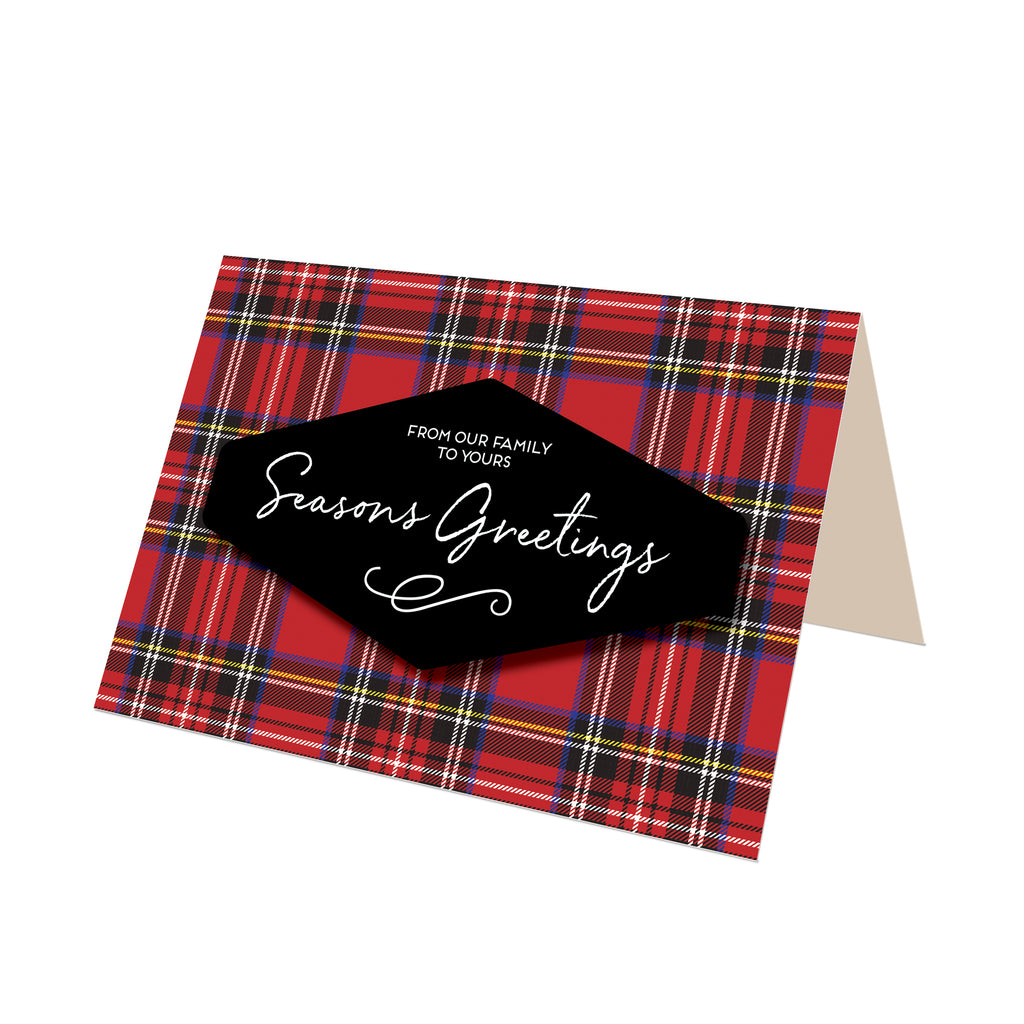 """Season's Greetings"" Royal Stewart Plaid Greeting Card"