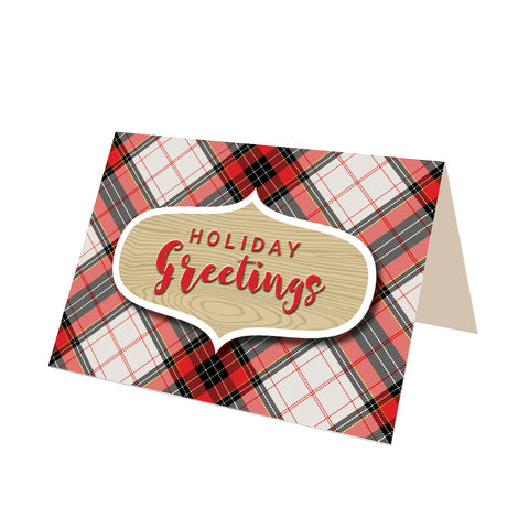 """Holiday Greetings"" Hamilton Plaid Greeting Card"