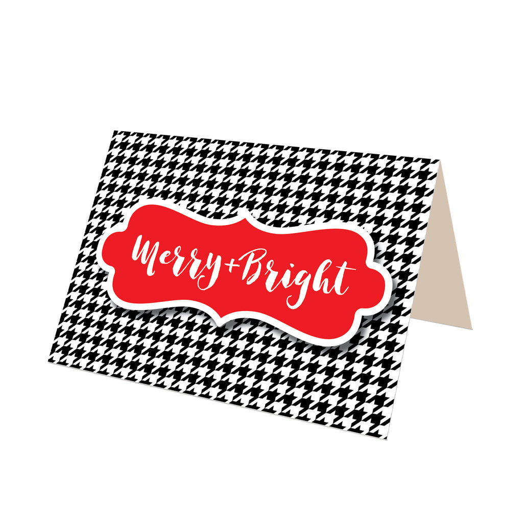 """Merry & Bright"" Houndstooth Greeting Card"