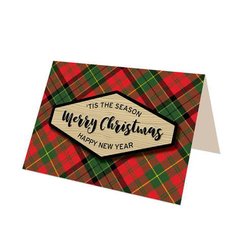 """Merry Christmas"" Merry Tartan Plaid Greeting Card"