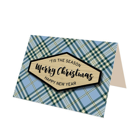 """Merry Christmas"" Blue Scotch Plaid Greeting Card"