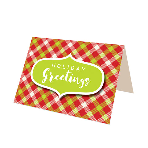 """Season's Greetings"" (Green) Merry Gingham Plaid Greeting Card"