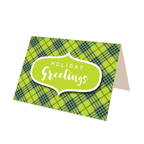 """Season's Greetings"" Green Tartan Greeting Card"