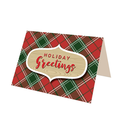 """Holiday Greetings"" Imperial Red Tartan Greeting Card"