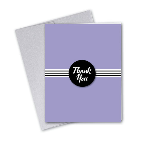 Vintage Pastel Violet Stripe Notecards - 3 Options
