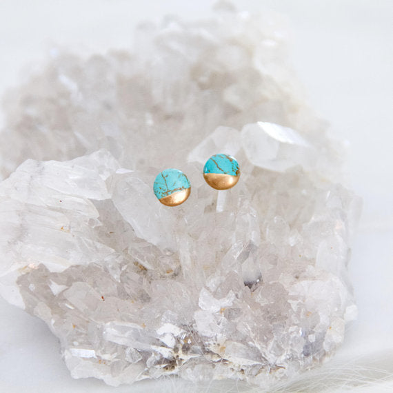 Mesa Blue - Gilded Turquoise Studs - Round Studs