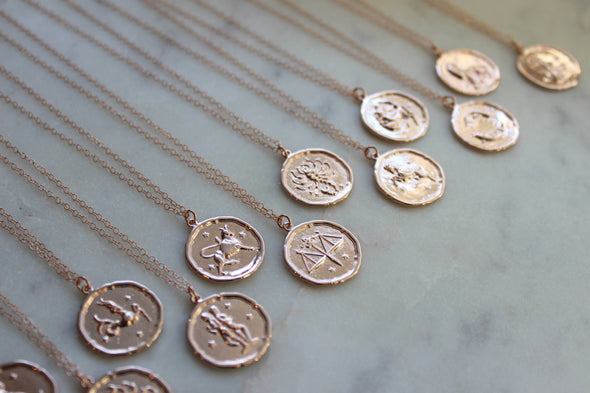 Laalee Jewelry - Rose Gold Zodiac Necklace Coin Disk