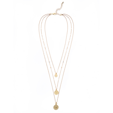MOD + JO - Pendant Necklace - Gold Coin Layered