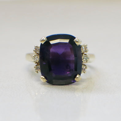 14K Yellow Gold Large Cushion Cut Purple Amethyst and Diamond Cocktail Ring
