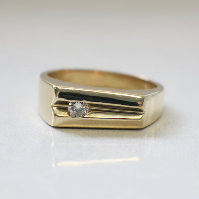 Vintage 14K Mens Diamond Ring Wedding Band Tapered Asymmetrical
