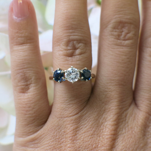 Diamond and Sapphire Three Stone 14K Yellow Gold Ring Engagement Ring