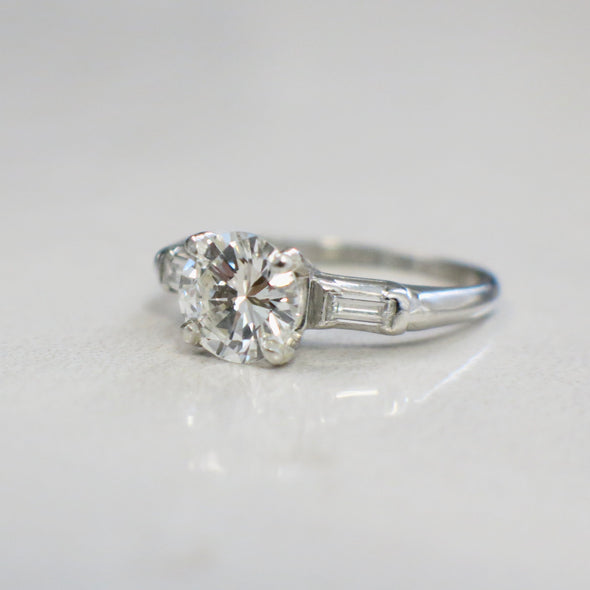 Platinum 1.40 CTW Diamond Engagement Ring with Baguette Side Stones Three Stone Ring