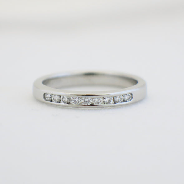 Platinum Diamond Channel Set Wedding Band Ring