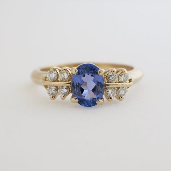 Oval Tanzanite and Double Row Diamond 14K Yellow Gold Ring