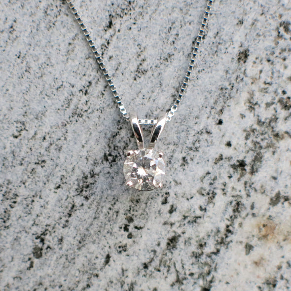 Solitaire Diamond Pendant White Gold