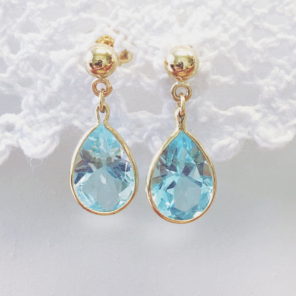 14K Yellow Gold Topaz Drop Earrings