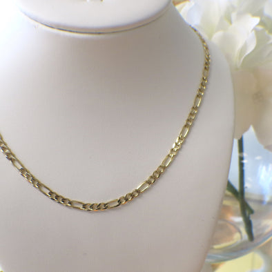 Mens Figaro Link Necklace Gold