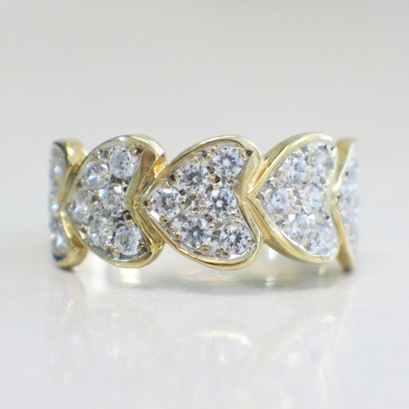 14K Gold Pave Diamond Heart Hearts Band Ring