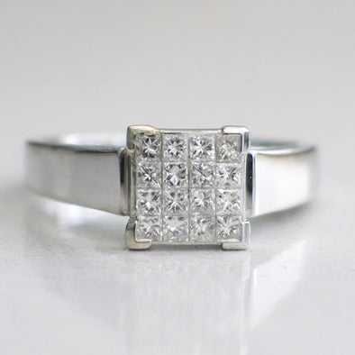 14K White Gold Ring with Princess Cut Diamonds