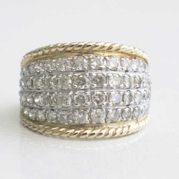 14K Two Tone Gold and Diamond Etruscan Style Vintage Ring