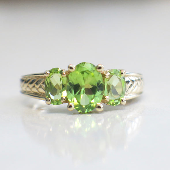 Three Stone Peridot Green 14k Yellow Gold Ring
