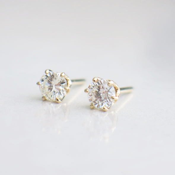 .80 CTW Diamond Studs 14K Yellow Gold Earrings